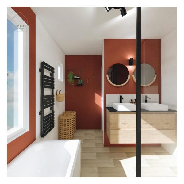 Une salle-de-bains aux tons terracotta
