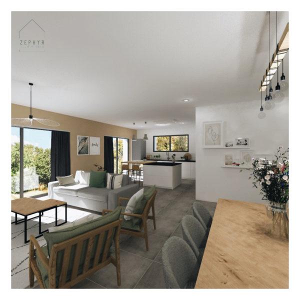 Une pièce de vie spacieuse et lumineuse pour une maison neuve!